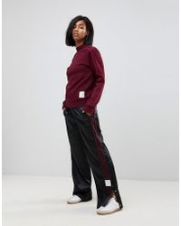 adidas Originals - Originals Adibreak Satin Wide Leg Popper Trousers In Black - Lyst