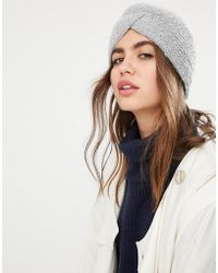 Pieces - Rib Knitted Turban Hat - Lyst