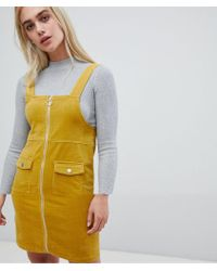Pieces - Zip Front Pinafore Dress - Lyst
