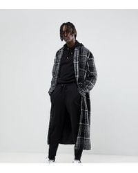 The New County - Longline Overcoat In Grey Check - Lyst