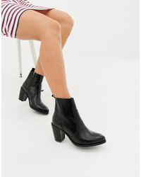 0967569c8eb14e Office - Aberdeen Black Leather Chunky Block Heeled Boot - Lyst