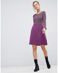 Traffic People - Long Sleeve 2-in-1 Skater Dress With Stripped Top - Lyst
