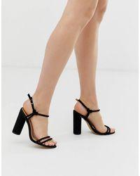 0016ea663 Miss Kg Esther Black & White Faux Snake Heeled Sandals - Black & White in  Black - Lyst