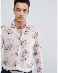 Reiss - Slim Long Sleeve Shirt In Soft Pink Floral Print - Lyst