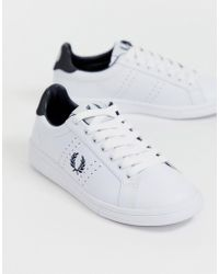 46c55dedb5e5a Fred Perry - B72 Lace Up Leather Trainer With Perforated Detail - Lyst