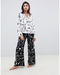 ASOS - Satin Mono Face Print Double Breasted Shirt And Pant Pyjama Set - Lyst