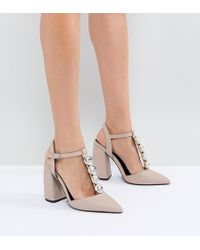 49a22389c08e ASOS Passionate Wide Fit Embellished High Heels in Natural - Lyst