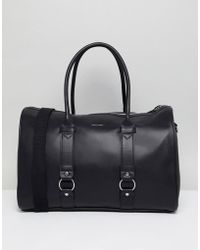 ASOS - Faux Leather Carryall In Black With Double Straps Front - Lyst