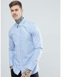 HUGO - Elisha Poplin Extra Slim Fit Shirt In Light Blue - Lyst