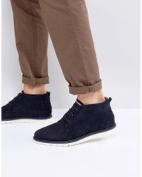 Tommy Hilfiger - Joseph Perforated Suede Desert Boots In Navy - Lyst