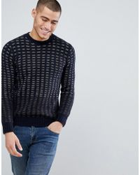 Benetton - Wool Mix Jumper Basket Weave Texture And Colour Block - Lyst