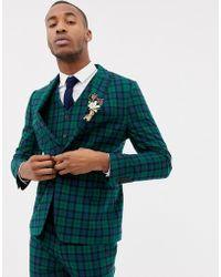 ASOS Chaqueta de traje ajustada a cuadros escoceses Blackwatch - Verde