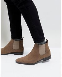 New Look | Faux Suede Chelsea Boots In Stone | Lyst