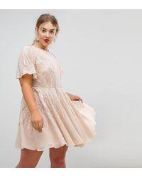 ASOS - Gold Sparkle Skater Mini Dress - Lyst