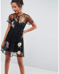 ASOS DESIGN - Asos Premium Dobby Mesh Mini Smock Dress With Embellished Flowers - Lyst