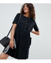 ASOS - Asos Design Tall Mini Smock Dress With Pockets And Button Front - Lyst