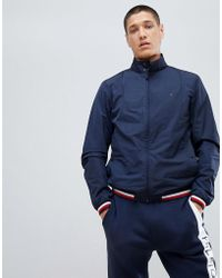 Tommy Hilfiger - Sports Capsule Funnel Jacket Icon Stripe Trim In Navy - Lyst
