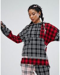 Jaded London - Oversized Hoodie In Patchwork Check Co-ord - Lyst