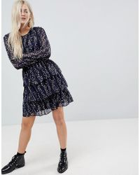 ONLY - Tiered Ditsy Skater Dress - Lyst