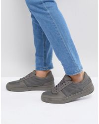ASOS - Lace Up Trainers In Grey With Nylon Panels - Lyst