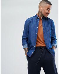 Aquascutum - Redmond Crest Logo Chambray Shirt In Blue - Lyst