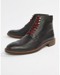 Dune - Lace Up Brogue Boots In Brown - Lyst