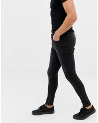 Religion - Drop Crotch Super Skinny Fit Jeans With Panelling In Black Wash - Lyst