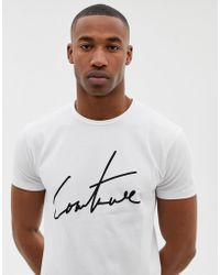 The Couture Club - T-shirt With Large Logo In White - Lyst