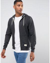 Blend - Zip Thru Hoodie Core In Charcoal - Lyst