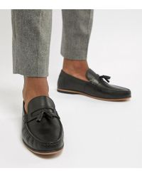 ASOS - Wide Fit Loafers In Black Leather With Tassel - Lyst