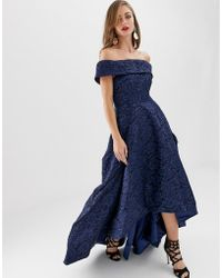 Bariano - Off Shoulder Full Prom Dress With High Low Hem In Navy - Lyst