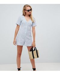 ASOS - Asos Design Tall Swing Playsuit With Button Detail In Stripe - Lyst