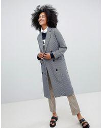 Monki - Checked Tailored Coat - Lyst