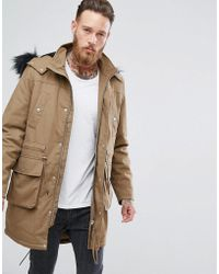 ASOS - Heavyweight Parka With Fleece Lining And Faux Fur Trim In Tobacco - Lyst