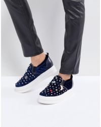Essentiel Antwerp - Pulse Velvet Moons & Stars Flatform Shoes - Lyst