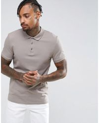 ASOS - Muscle Fit Pique Polo In Statue - Lyst