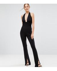 ASOS - Jersey Jumpsuit With Halter Neck And Plunge Detail - Lyst