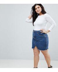 Liquor N Poker - Raw Hem Denim Mini Skirt - Lyst