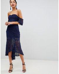 Club L - Crochet Dip Hem Skirt - Lyst