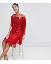 A Star Is Born - Tassel Midi Dress With All Over Sequins - Lyst