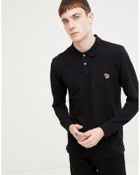 PS by Paul Smith - Slim Fit Long Sleeve Zebra Polo In Black - Lyst