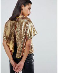 0d5707882ecd6d ASOS Shirt With Diamond Collar Print in Natural - Lyst