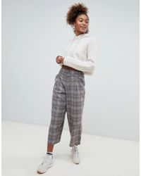 Pull&Bear - Checked Crop Pants - Lyst