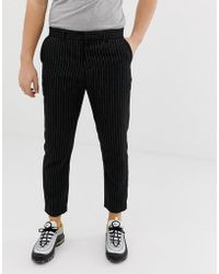 Bershka - Slim Cropped Pants With Pinstripe In Black - Lyst