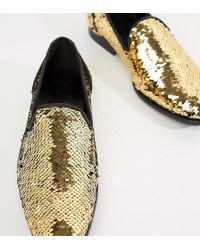 ASOS - Loafers In Reversible Sequin Gold To Black - Lyst
