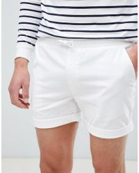 River Island - Slim Fit Pull On Shorts In White - Lyst