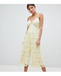 99d12465896 TOPSHOP Crochet High Neck Culotte Jumpsuit in Orange - Lyst