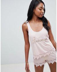 ASOS - Bridal Bridesmaid Tank And Short Pajama With Lace Trim - Lyst
