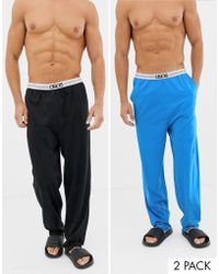 ASOS - Pyjama Bottoms In Black & Blue With Branded Waistband 2 Pack In Organic Cotton - Lyst