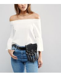 Pieces - Fringed Bumbag Belt - Lyst